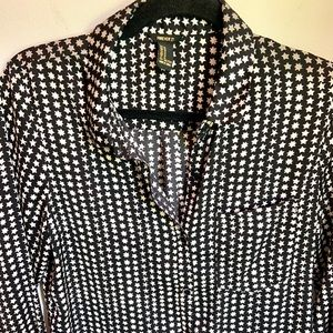 Black and white star silky feel button down top